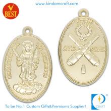Forneça 3D ambos pressão lateral que carimba a medalha religiosa do chapeamento de ouro na liga de zinco
