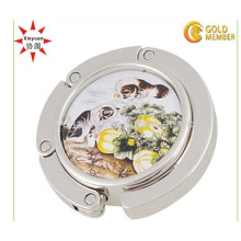 La promoción de las mujeres de la señora plegable de la etiqueta engomada del bolso del tenedor del monedero de metal de suspensión