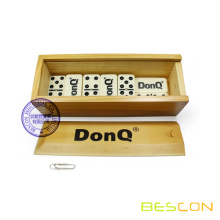 Double Six Domino with Embossed Logo on Back and Wooden Box Packing