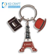 Wholesale high quality custom shaped metal zinc alloy die struck enamel silver finish paris tower souvenir keychain