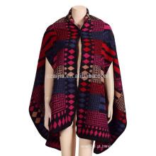 Moda feminina Jacquard tribal inverno poncho xaile