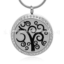 stainless steel jewelry Vines Round Essential Oil Diffuser Necklace Locket