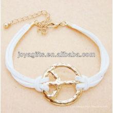Cabo de couro branco com pulseira de liga de paz