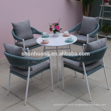 Leisure outdoor  patio  webbing rope furniture hand woven rope furniture hotel  dining set  living room chairs and coffee table