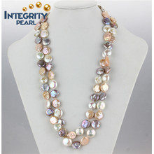 """Freshwater 12-13mm Coin 48"""" Long Necklace Multi Natural Color Pearl Necklace"""