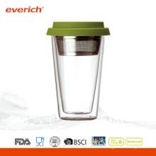 Vidrio / vaso de cristal de la bebida de la pared doble de 300ml