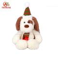 Dongguan GSV 25CM White plush dog pet with Christmas hats stuffed toy