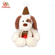 Dongguan GSV 25CM White plush dog pet with Christmas hats stuffed toy