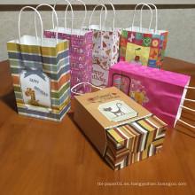 Feliz cumpleaños, fiesta de regalo, bolsa de caramelo, empaque de papel kraft, bolsa de regalo con asas