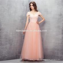 Vestido de boda del color del hombro del color rosado 2017 vestido de boda del precio de la longitud del piso de una línea