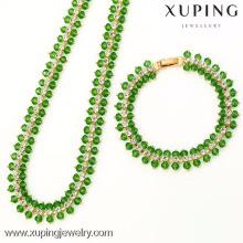 62774-Xuping Jewelry Fashion 18K chapado en oro conjunto con Neckalce y pulsera
