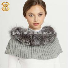 High Quality Lady's winter Genuine Silver Fox Fur Trim Wool Knitted Shawl Scarf