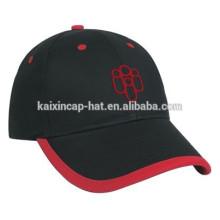 noir 100% broderie de coton logo article casquettes de baseball de mode de sandwich
