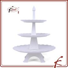 Отличительное моделирование Eiffel Прочный фарфоровый трехслойный торт с подставкой