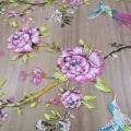 Printed Birds Flowers Embroidery Tulle Lace Fabric