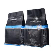 Custom Logo Design Print 250g 340g 500g Black Matt Ground Coffee Flat Bottom Valve Bags with Zipper Coffee Pouch