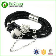 Homens Moda pulseira preta de couro genuíno coração com strass aço inoxidável pulseira pulseiras de prata