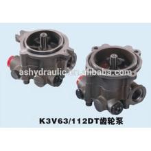 Kawasaki K3V série de K3V63DT, K3V112DT, K3V140DT charge hydraulique pompe à engrenage