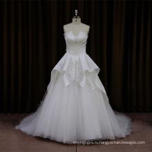 Классическая Атласная Бисероплетение Свадебное Платье