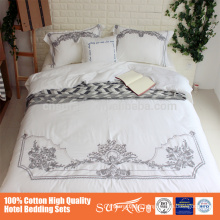 Custom Screen Printed embroidered Bedding Comforter Set Used Hotel bed sheet, hotel bed linen, 5 start hotel bed sheet