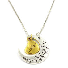 30mm Engraved I Love You to The Moon Charms Necklace