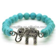 Turquoise 8MM Perles rondes Stretch Bracelet en pierres précieuses avec Diamante Alloy Elephant Piece