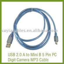 USB 2.0 A bis Mini B 5 Pin PC Digit Kamera MP3 Kabel