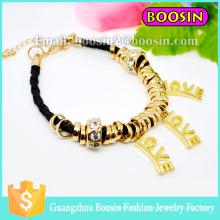 Nouveau bracelet d'amour en or avec pierres précieuses pour bijoux en corde d'enveloppement pour femmes
