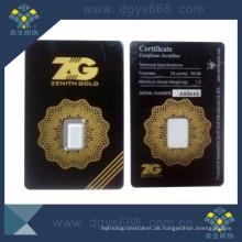 Manipulationssichere Anti-Counterfeiting Coin Packing Card mit Seriennummer