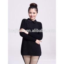 fashion lace collar cashmere knitting women's thick sweater