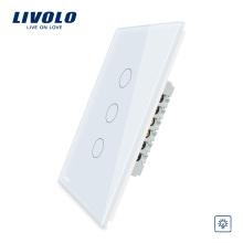 Interrupteur variateur de lumière mural tactile US Livolo 110 ~ 220V 3 gangs 1 voie avec indicateur à LED VL-C503D-11
