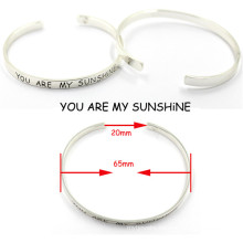 Unsex Silver Opening Engraved Stainless Steel Metal Bracelet