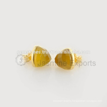 Wholesale Vermeil Gold Plated Bezel Stud Earring Natural Best Quality Gemstone Bezel Jewelry Manufacturer