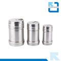 Latas de aço inoxidável Metal Spice Shaker com tampa, latas de especiarias