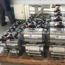 Пневматические 3шт поток шаровой клапан с ISO 5211 пусковой площадки установки