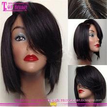 Новые продукты красоты дешевые бразильские человеческие волосы Боб парики с челкой 6-14 дюймов Боб стиль шелковый топ кружева парики