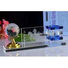 Titular de caneta de cristal de presentes de escritório com globo terrestre de cristal