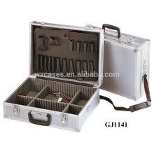 Алюминиевый чемодан с раскладными инструмент поддон и регулируемой отсеки внутри и с одной лямкой