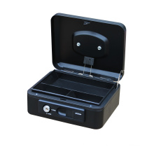 8 inch Cheap Home Cash Box Square Safety Cashier Metal Cash Box Storage with spring lock