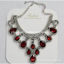 Леди мода ювелирные изделия Красный капли Кристалл стекла Кулон ожерелье (JE0211)