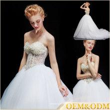 Vestidos de noiva sem alças China uma linha de vestidos de estilo francês