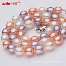 Mehrfarben AAA Reisform Geniune Perlen Halskette Großhandel