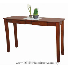Table console en bois, table à tiroirs en bois