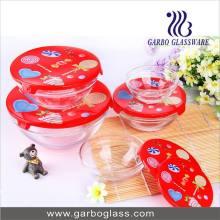 Ensemble de bol en verre 5PCS avec couvercle coloré