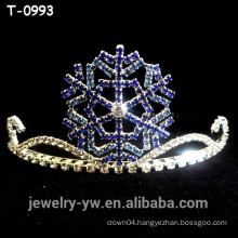 Lovely colored rhinestone blue snowflake christmas tiara for kids