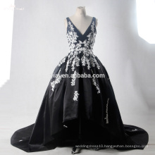 RSE704 White And Black Lace Sexy Short Front Long Back Wedding Dress
