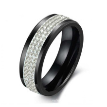 Lovers' Korean ring gift, black ceramic ring, three rows of crystal rhinestones for Christmas