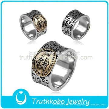 2015 de calidad superior moda accesorios religiosos acero inoxidable sello anillo de dedo de oración con diseño de esmalte negro para los musulmanes
