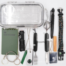 2020 New Camping 10 in 1 Survival Kit,  Outdoor Emergency Camping Gear Kit with Tactical Pen Pliers Notebook Waterproof case