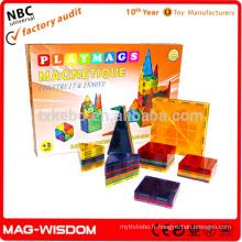 Playmags 2016 Bâtiments magnétiques Blocs de carreaux Construction Magna Tiles Jouets éducatifs Ensemble 38pcs
